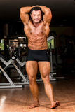 Muscular bodybuilder showing his front abdominal abs. Muscular body builder showing his front abdominal abs Stock Photography