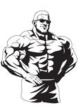 Muscular bodybuilder in sunglasses. 