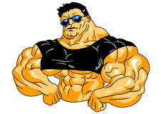 Muscular bodybuilder in sunglasses. Isolated on a white.illustration Stock Photography