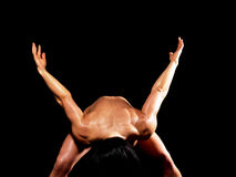 Muscular bodybuilder woman showing her muscles. Royalty Free Stock Photography