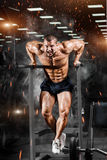 Muscular bodybuilder working out in gym doing exercises on parallel bars. Athlitic male naked torso stock photos