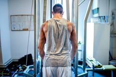 Muscular bodybuilder working out at gym, making triceps Royalty Free Stock Image