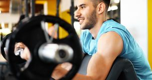 Muscular bodybuilder workout in gym doing biceps exercises. With bar Royalty Free Stock Image