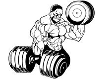 Muscular bodybuilder workout. Illustration,black and white,art,outline,isolated on a white Royalty Free Stock Photos