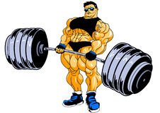 Muscular bodybuilder workout. Illustration,color,drawing, on a white Royalty Free Stock Images