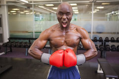 Muscular boxer flexing muscles in health club Royalty Free Stock Photography