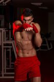 Muscular Boxer MMA Fighter Practice His Skills Stock Photography