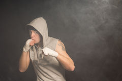Muscular boxer ready for a fight Stock Images
