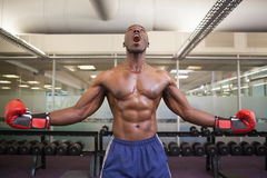 Muscular boxer shouting in health club Royalty Free Stock Photos