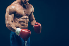 Muscular boxer in studio shooting, on black. Background Stock Photography