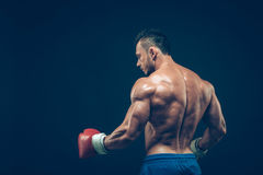 Muscular boxer in studio shooting, on black. Background Stock Photo
