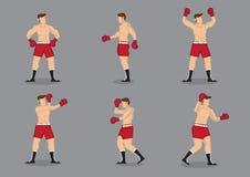 Muscular Boxer Vector Icon Set Stock Photo