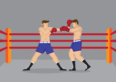 Muscular Boxers Fighting in Boxing Ring Vector Illustration Stock Photo