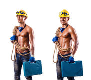 The muscular builder with tools isolated on white Stock Image