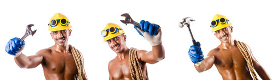 The muscular builder with tools isolated on white Stock Photography