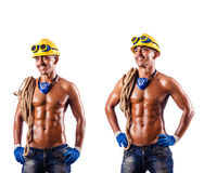 The muscular builder with tools isolated on white Royalty Free Stock Photography