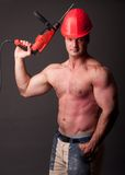 Muscular construction worker Stock Image