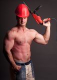 Muscular construction worker Royalty Free Stock Photo