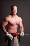Muscular construction worker Royalty Free Stock Images