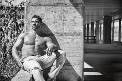 Muscular construction worker shirtless in building Royalty Free Stock Photos