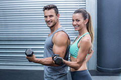 A muscular couple lifting dumbbells stock image