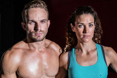 Muscular couple looking at the camera royalty free stock photography