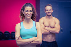 Muscular couple looking at the camera royalty free stock image