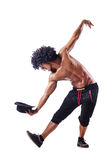 Muscular dancer on white Stock Photography
