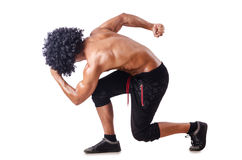 Muscular dancer  on white Stock Image