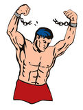 Muscular dude breaking free. From his shackles royalty free illustration