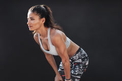 Muscular female model in sportswear Stock Photo