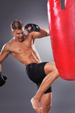Muscular Fighter Practicing Some Kicks with Punching Bag. Stock Photography