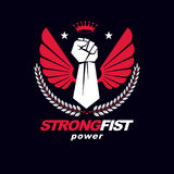 Muscular fist of a strong man vector illustration made with eagl Stock Photo