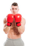 Muscular and fit boxing trainer Royalty Free Stock Images
