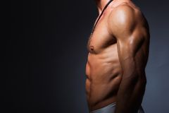 Muscular and fit torso of young sporty man showing Royalty Free Stock Photo