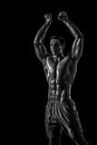 Muscular and fit young bodybuilder fitness male model posing ove Royalty Free Stock Image