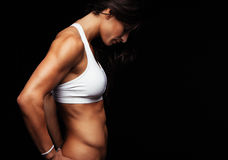 Muscular fitness female model Royalty Free Stock Image
