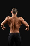 Muscular fitness man on black background. Back work. Male bodybuilder showing off his toned muscular back posing on dark background Royalty Free Stock Photos