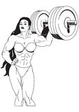 Muscular girl. Lifts heavy dumbbell Royalty Free Stock Photography