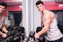 Muscular guy exercising in the gym Royalty Free Stock Photos