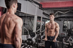 Muscular guy working out in the gym. Lifting heavy weights. Bodybuilder workout Royalty Free Stock Images