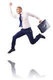 Muscular half naked businessman jumping Stock Photo