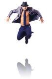 Muscular half naked businessman jumping Stock Image