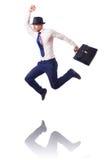 Muscular half naked businessman jumping Stock Photos