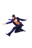 Muscular half naked businessman jumping Royalty Free Stock Photography