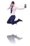 Muscular half naked businessman jumping Stock Photography