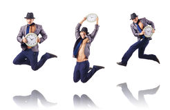 The muscular half naked businessman jumping on white Royalty Free Stock Photo