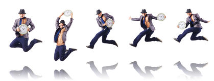The muscular half naked businessman jumping on white Royalty Free Stock Images