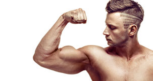 Muscular handsome man posing on white background. showing his biceps. stock images