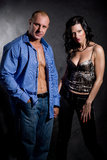 Muscular handsome man with pretty woman Royalty Free Stock Photography